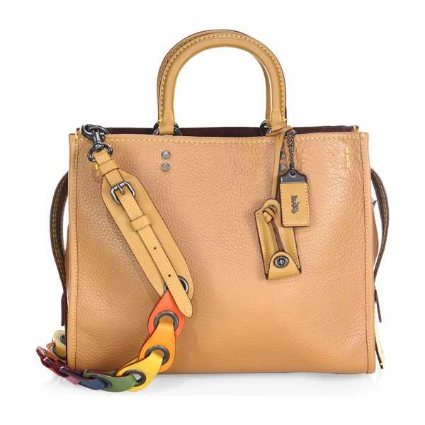 COACH 1941 multicolor strap leather satchel in tan - Multicolored link strap complements this pebbled leather...