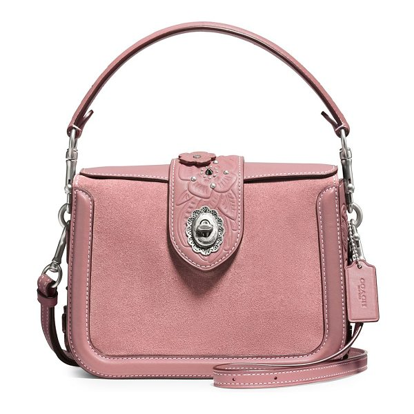 COACH page leather and suede crossbody bag in dusty rose