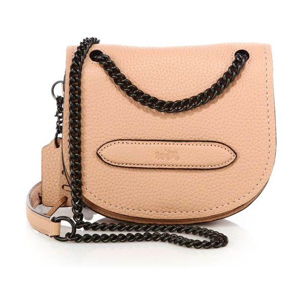 COACH Pebbled leather small shadow crossbody bag in blush - Petite saddle crossbody bag with blackened curb...