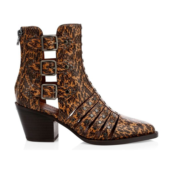 COACH phoebe cutout snakeskin-embossed leather boots in burnt sienna