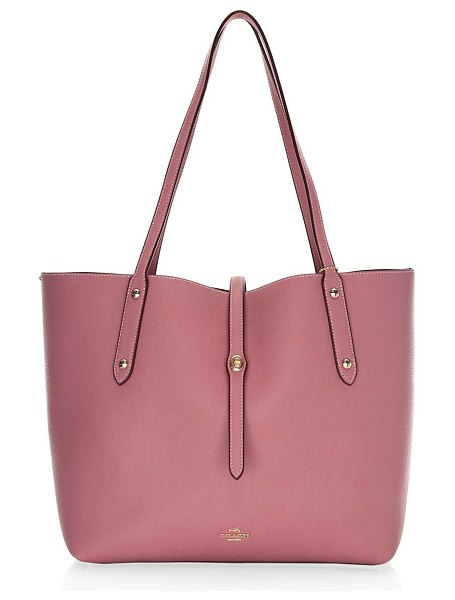 COACH polished pebbled leather market tote in rose - Voluminous market tote cut in pebbled leather. Double...