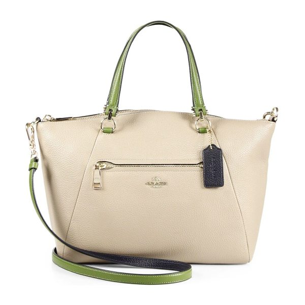 COACH Prairie multicolor leather tote in stone - Beautifully shaped tote with chic pops of colorDouble...