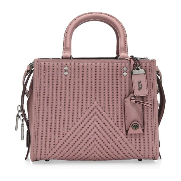 COACH 1941 rivet rouge leather handbag in dusty rose - Stud details give this leather shoulder bag a downtown...