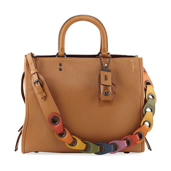 COACH Rogue Glove-Tanned Pebbled Tote Bag in saddle - Coach 1941 tote bag in glove-tanned pebbled leather with...