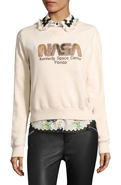 COACH space embroidered sweatshirt in pale pink - Soft cotton fleece sweatshirt in space motif. Crewneck....