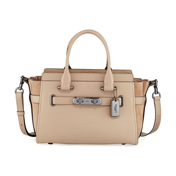 COACH Swagger 27 Refresh Satchel Bag in stone - Coach satchel bag in mixed leather and suede. Gunmetal...