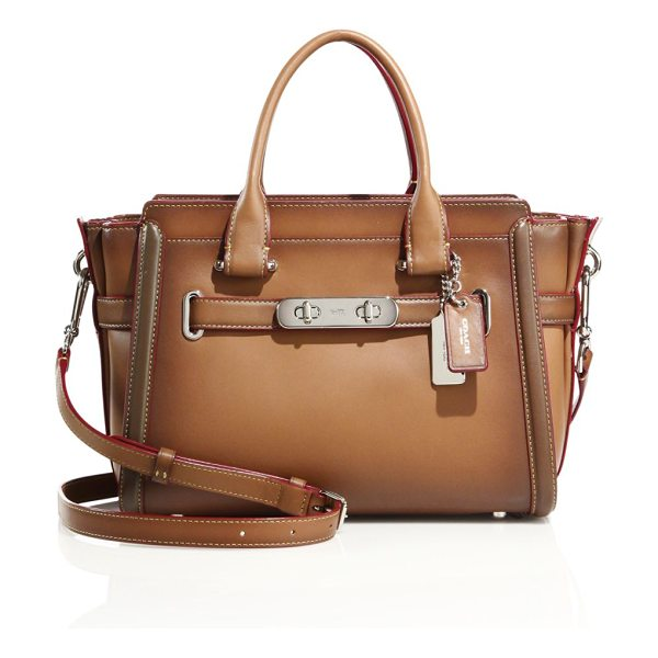 COACH Swagger leather satchel in saddle - Structured, smooth leather satchel with wraparound...
