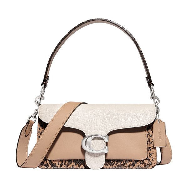 COACH tabby colorblock leather & snakskin shoulder bag in light taupe
