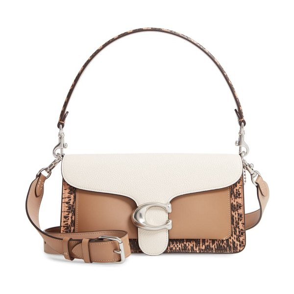 COACH tabby leather & genuine snakeskin shoulder bag in brown