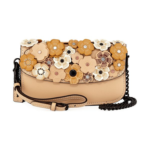 COACH Tea Rose Leather Clutch Bag in tan - Coach 1941 leather clutch bag with tea rose appliqus and...