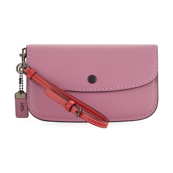COACH Two-Tone Leather Wristlet Clutch Bag in pink - EXCLUSIVELY AT NEIMAN MARCUS Coach 1941 smooth leather...