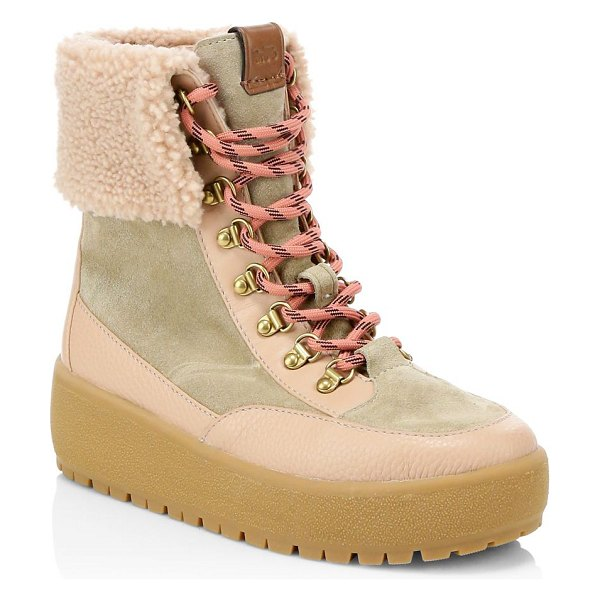 COACH tyler foldover shearling boots in tan - Cozy shearling hiking boots with utilitarian styling....