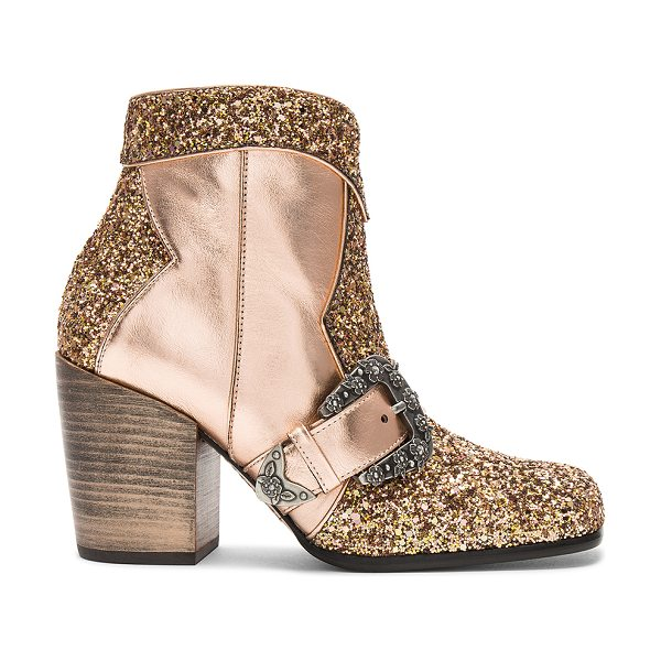"COACH Western Buckle Bootie in metallic copper - ""Glittered and metallic leather upper with leather sole...."