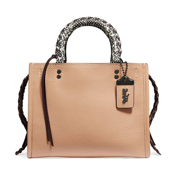 COACH Whipstitch Exotic Rogue Satchel Bag in brown pattern