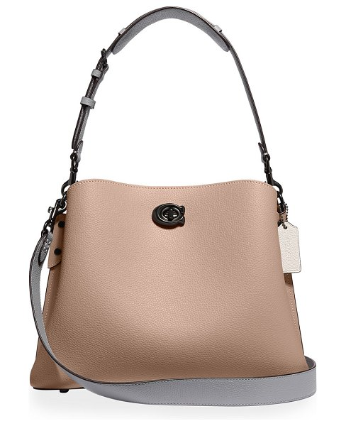 COACH Willow Pebbled Leather Shoulder Bag in taupe multi