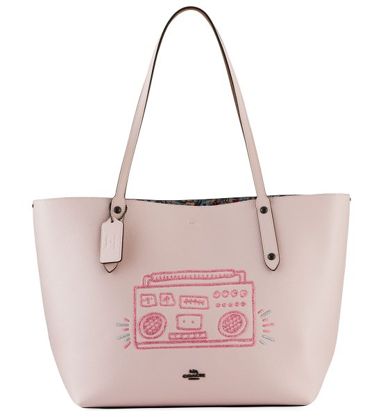 COACH x Keith Haring Boom Box Market Tote Bag in ice pink - Coach 1941 x Keith Haring pebbled leather tote bag with...