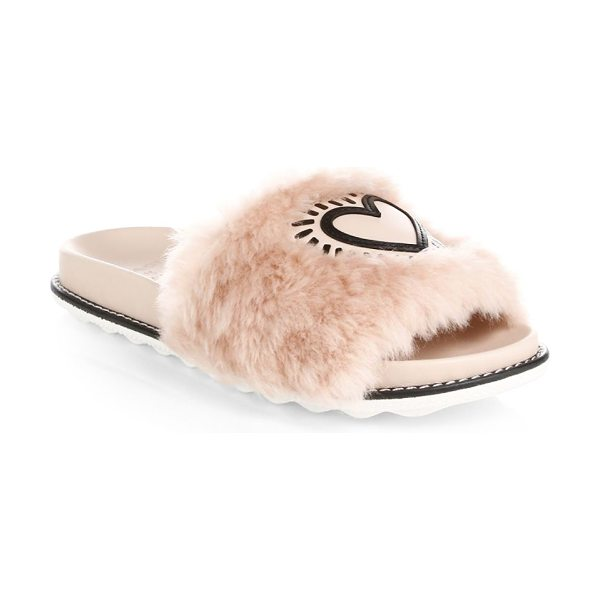 COACH x keith haring fur & leather slides in pink - Furry slides with a leather heart embellishment....