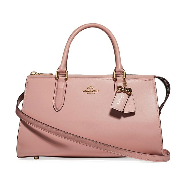 COACH x Selena Gomez Bond Leather Bag in pink - Coach refined calf leather bag with crystal-embellished...