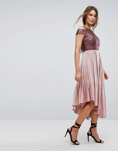 """Coast Delores Velvet Pleated Dress in pink - """"""""Dress by Coast, Stretch woven fabric, Metallic top,..."""