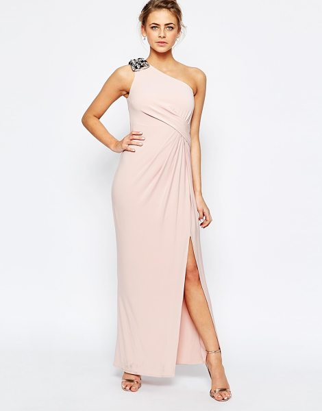 Coast Emilana One Shoulder Maxi Dress in Blush in pink - Maxi dress by Coast, Lined stretch fabric, Jewelled...