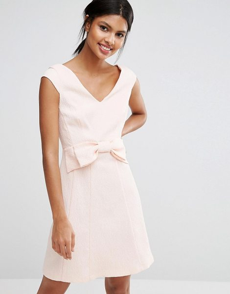 Coast Mayra jaquard Mini Dress with Bow in pink - Dress by Coast, Woven jacquard, V-neckline, Cap sleeves,...