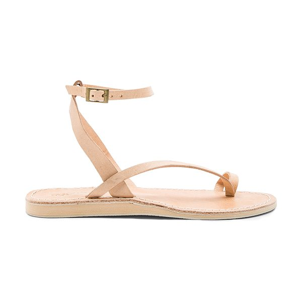 Cocobelle Spartan Sandals in beige - Leather upper with rubber sole. Ankle strap with buckle...