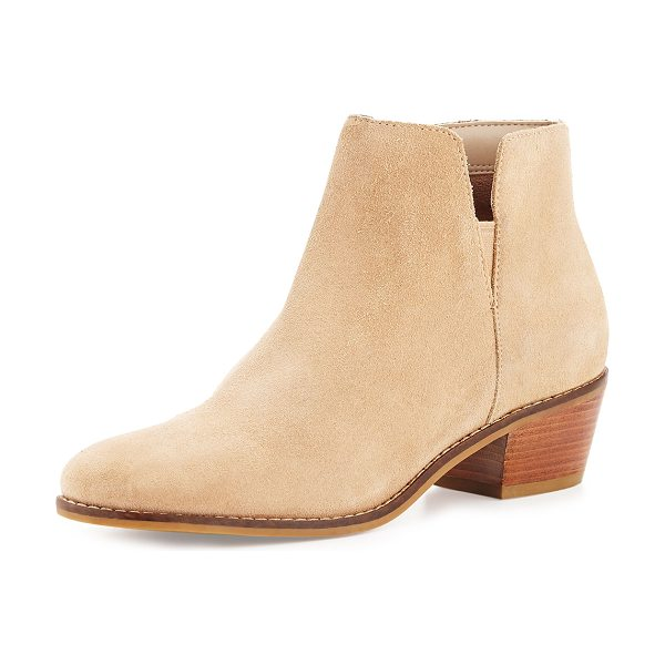 """Cole Haan Abbot Grand. OS Suede Cutout Bootie in cremini beige - Cole Haan suede bootie. 1.8"""" stacked heel. Round toe...."""