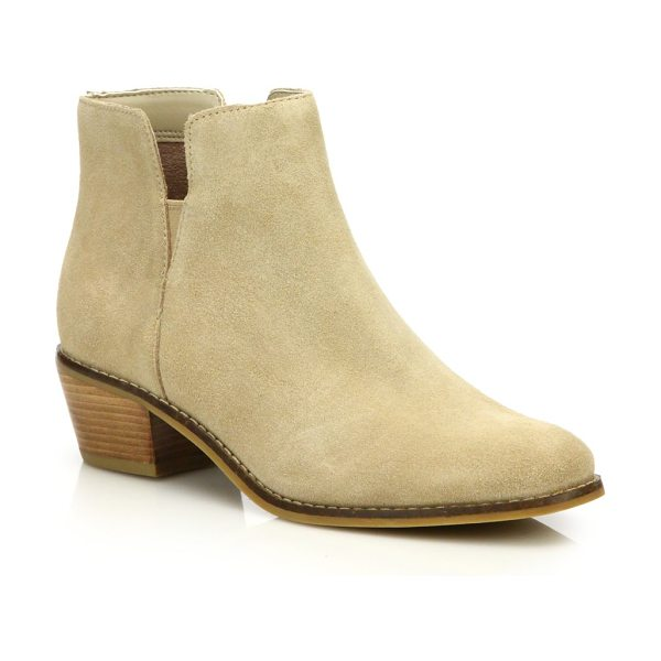 COLE HAAN abbot suede booties in beige - Classically cool booties with a low, chunky heel,...