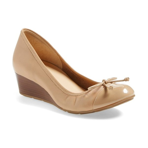 Cole Haan air tali wedge pump in sandstone leather - A neat cap toe polishes the look of a pretty pump topped...