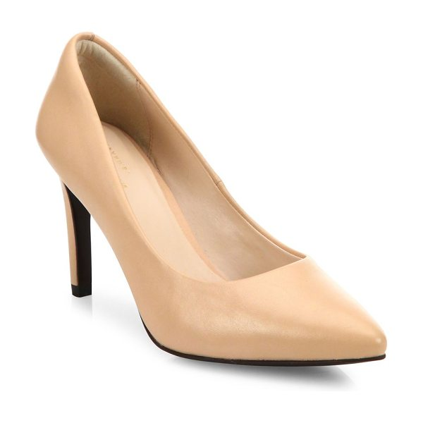 COLE HAAN amelia grand leather point toe pumps - Leather point-toe pump with comfy cushioned footbed....