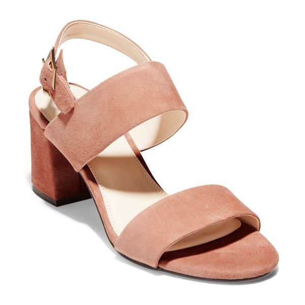 Cole Haan avani block heel sandal in brown - Grand. OS cushioning adds lightweight comfort to a...