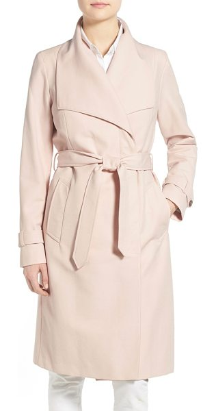 Cole Haan belted long trench coat in canyon rose