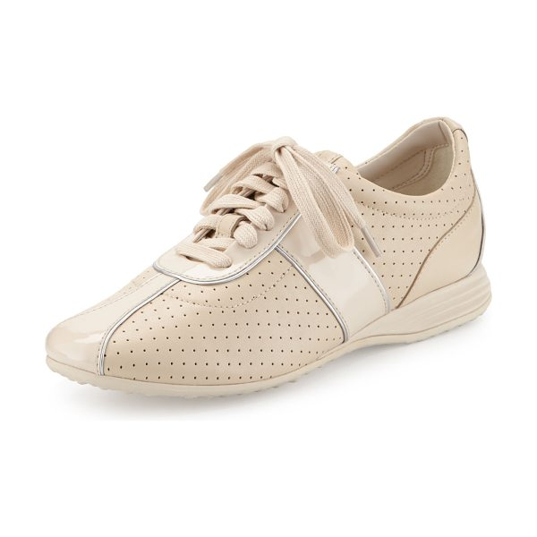 Cole Haan Bria Grand Perforated Leather Sneaker in sandshell - Cole Haan perforated leather sneaker with patent trim....