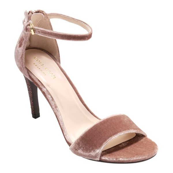 Cole Haan clara grand ankle strap sandal in nude velvet - Dazzle and shine as you walk into the room wearing this...