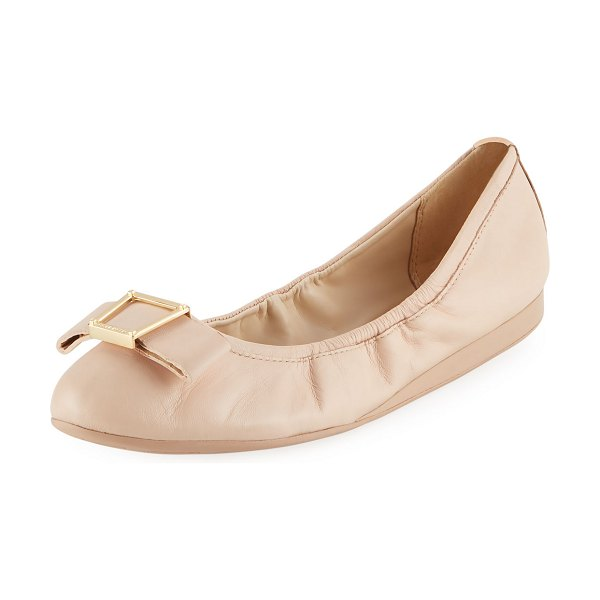 Cole Haan Emory Bow Ballet Flats in nude - Cole Haan stretchy leather ballerina flat with pilgrim...