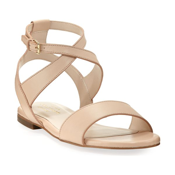 Cole Haan Fenley Grand Ankle-Wrap Flat Sandal in nude - Cole Haan smooth leather sandal. Flat heel. Strap bands...