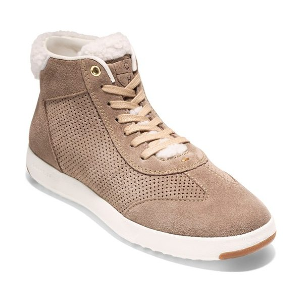 Cole Haan grandpro high top sneaker in warm sand suede - Soft leather updates a classic high-top sneaker designed...