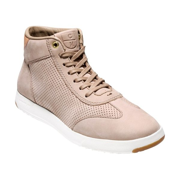 Cole Haan grandpro high top sneaker in maple sugar nubuck leather - Soft leather updates a classic high-top sneaker designed...