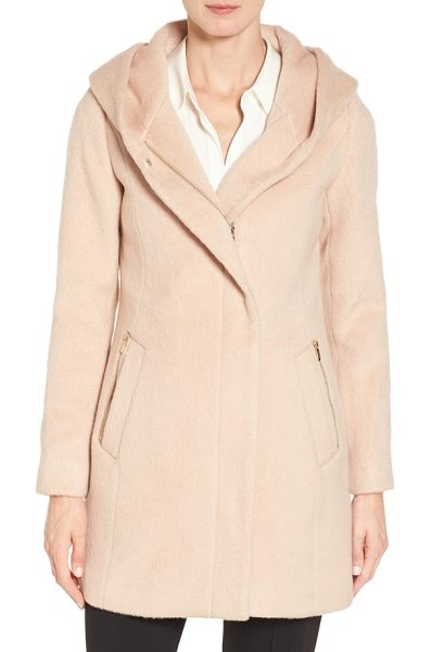 Cole Haan hooded coat in canyon rose - Generous helpings of wool and alpaca fibers create a...