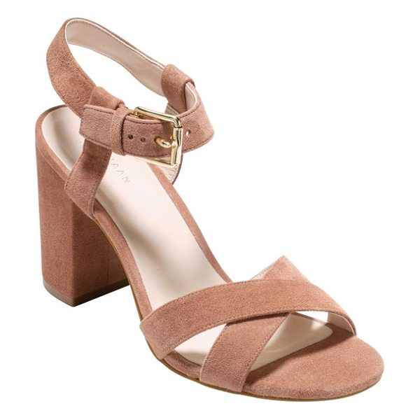 Cole Haan kadi ankle strap sandal in mocha mouse suede - A vintage-inspired sandal with a trend-savvy wrapped...