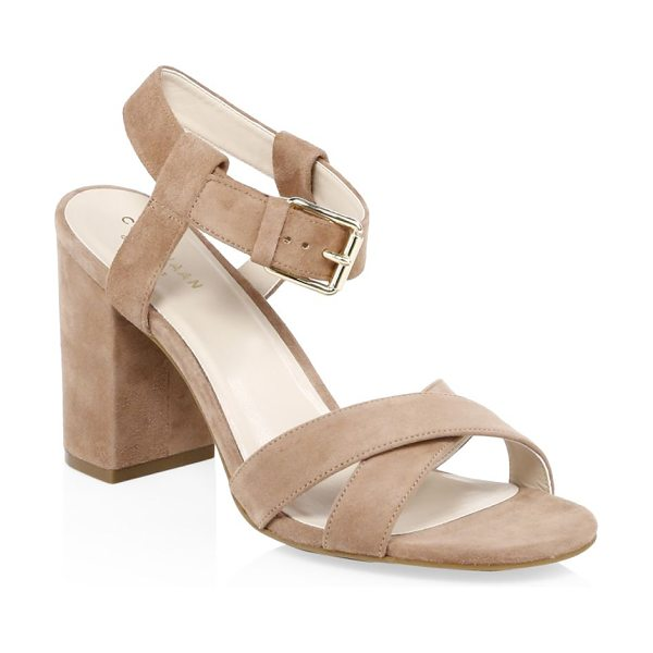 Cole Haan kadi suede sandals in mocha - Enduring suede sandals with comfortable block heel....