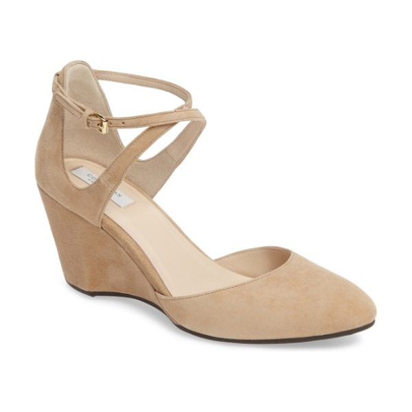 Cole Haan lacey ankle strap wedge pump in tan suede - An architectural wedge heel adds a style boost to a lush...
