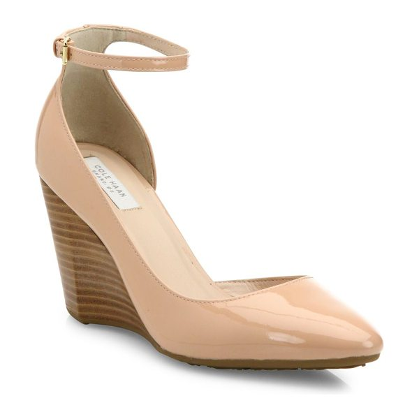 Cole Haan lacey patent leather d'orsay ankle-strap wedge pumps in nude - Patent d'Orsay ankle-strap pump poised on stacked wedge....