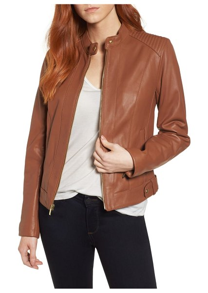 COLE HAAN SIGNATURE cole haan leather moto jacket in brown