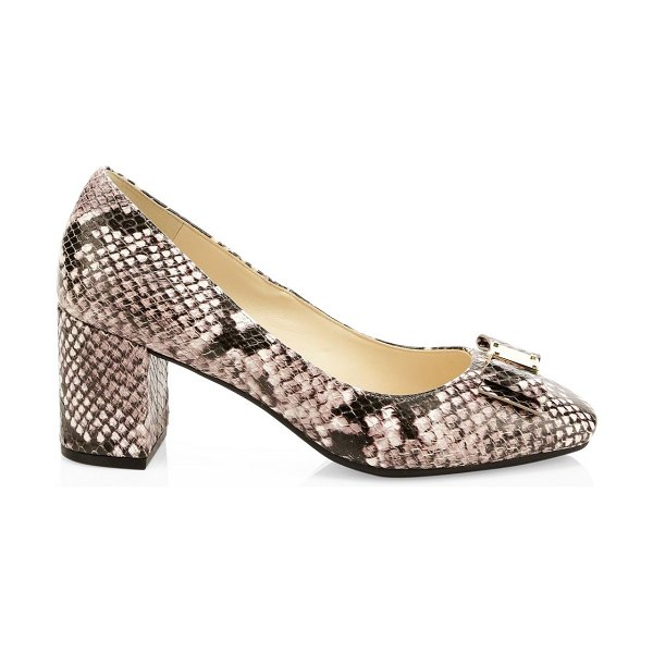 Cole Haan leather tali bow pumps in neutral
