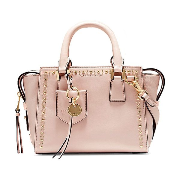 Cole Haan marli mini leather satchel in pink nude studding - Glimmering golden studs lend edgy elegance to a smooth...