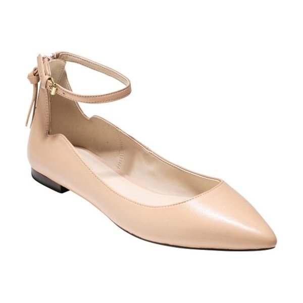 Cole Haan millicent ankle strap skimmer flat in nude - A demure ankle strap makes a flirty finish for a pretty...