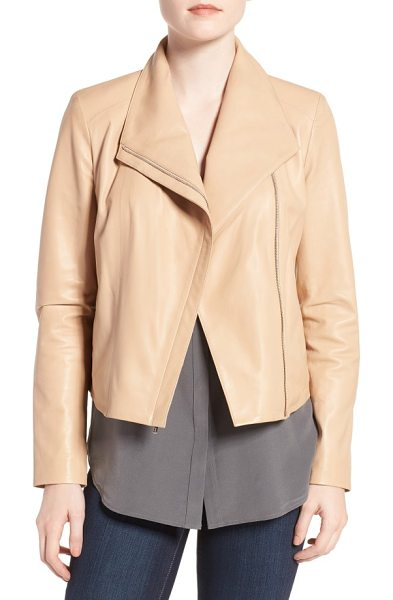 Cole Haan modern lambskin leather moto jacket in sandshell - Beautifully transitioning into warmer weather, a...