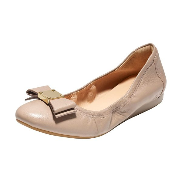 """COLE HAAN Tali Bow Ballet Flat in maple sugar - Cole Haan """"Tali Bow"""" ballerina features smooth,..."""
