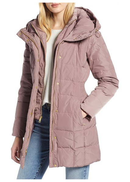 COLE HAAN SIGNATURE cole haan hooded down & feather jacket in pink